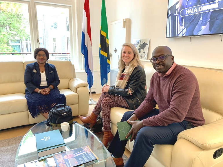 H.E. Ambassador Irene Kasyanju with Mr. Masaki Mackenzie, Director for Business Development & Agribusiness and Ms. Bente Fonkert, Agribusiness Project Assistant.